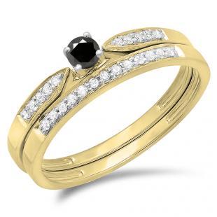 0.25 Carat (ctw) 10K Yellow Gold Round Black & White Diamond Ladies Bridal Engagement Ring Matching Band Wedding Set 1/4 CT