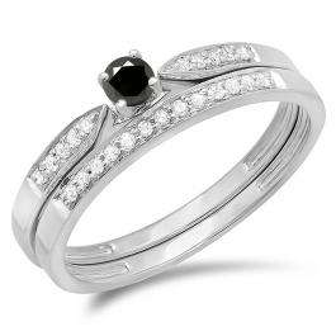 0.25 Carat (ctw) 14K White Gold Round Black & White Diamond Ladies Bridal Engagement Ring Matching Band Wedding Set 1/4 CT