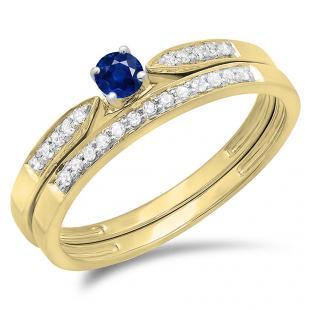 0.25 Carat (ctw) 10K Yellow Gold Round Blue Sapphire & White Diamond Ladies Bridal Engagement Ring Matching Band Wedding Set 1/4 CT