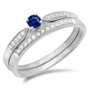 0.25 Carat (ctw) 18K White Gold Round Blue Sapphire & White Diamond Ladies Bridal Engagement Ring Matching Band Wedding Set 1/4 CT