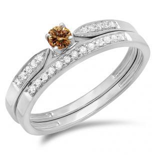 0.25 Carat (ctw) 14K White Gold Round Champagne & White Diamond Ladies Bridal Engagement Ring Matching Band Wedding Set 1/4 CT