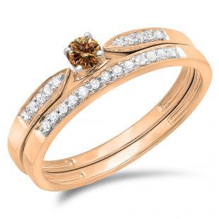 0.25 Carat (ctw) 18K Rose Gold Round Champagne & White Diamond Ladies Bridal Engagement Ring Matching Band Wedding Set 1/4 CT