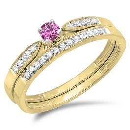 0.25 Carat (ctw) 10K Yellow Gold Round Pink Sapphire & White Diamond Ladies Bridal Engagement Ring Matching Band Wedding Set 1/4 CT