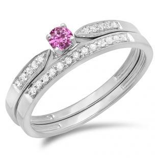0.25 Carat (ctw) 18K White Gold Round Pink Sapphire & White Diamond Ladies Bridal Engagement Ring Matching Band Wedding Set 1/4 CT
