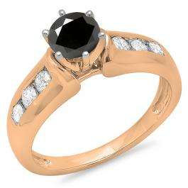 1.00 Carat (ctw) 14K Rose Gold Round Cut Black & White Diamond Ladies Bridal Solitaire With Accents Engagement Ring 1 CT