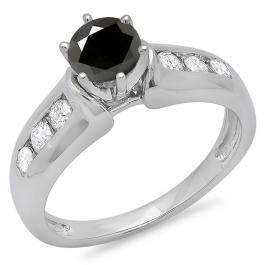 1.00 Carat (ctw) 14K White Gold Round Cut Black & White Diamond Ladies Bridal Solitaire With Accents Engagement Ring 1 CT