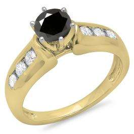 1.00 Carat (ctw) 14K Yellow Gold Round Cut Black & White Diamond Ladies Bridal Solitaire With Accents Engagement Ring 1 CT