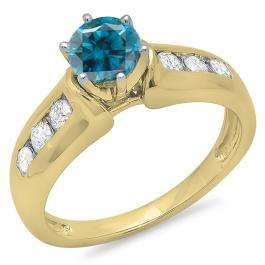 1.00 Carat (ctw) 10K Yellow Gold Round Cut Blue & White Diamond Ladies Bridal Solitaire With Accents Engagement Ring 1 CT