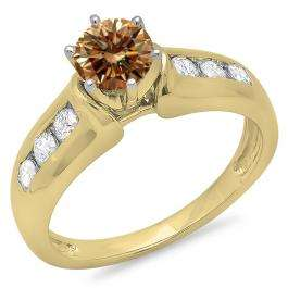 1.00 Carat (ctw) 18K Yellow Gold Round Cut Champagne & White Diamond Ladies Bridal Solitaire With Accents Engagement Ring 1 CT