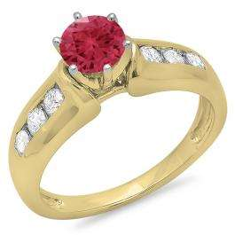1.00 Carat (ctw) 14K Yellow Gold Round Cut Red Ruby & White Diamond Ladies Bridal Solitaire With Accents Engagement Ring 1 CT