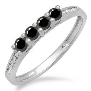 0.50 Carat (ctw) 10K White Gold Round Black & White Diamond Ladies Bridal Anniversary Wedding Band Stackable Ring 1/2 CT