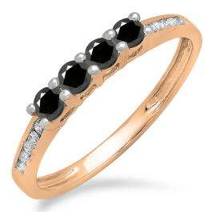 0.50 Carat (ctw) 14K Rose Gold Round Black & White Diamond Ladies Bridal Anniversary Wedding Band Stackable Ring 1/2 CT