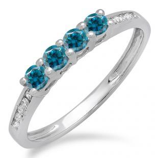 0.50 Carat (ctw) 10K White Gold Round Blue & White Diamond Ladies Bridal Anniversary Wedding Band Stackable Ring 1/2 CT