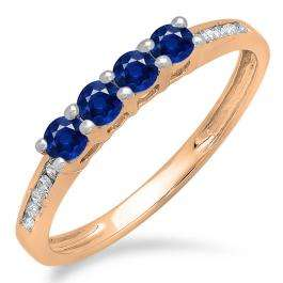 0.50 Carat (ctw) 10K Rose Gold Round Blue Sapphire & White Diamond Ladies Bridal Anniversary Wedding Band Stackable Ring 1/2 CT