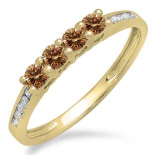 0.50 Carat (ctw) 10K Yellow Gold Round Champagne & White Diamond Ladies Bridal Anniversary Wedding Band Stackable Ring 1/2 CT