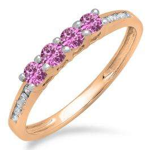 0.50 Carat (ctw) 18K Rose Gold Round Pink Sapphire & White Diamond Ladies Bridal Anniversary Wedding Band Stackable Ring 1/2 CT