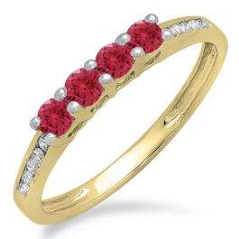 0.50 Carat (ctw) 10K Yellow Gold Round Red Ruby & White Diamond Ladies Bridal Anniversary Wedding Band Stackable Ring 1/2 CT
