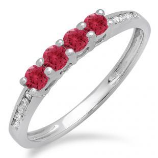 0.50 Carat (ctw) 18K White Gold Round Red Ruby & White Diamond Ladies Bridal Anniversary Wedding Band Stackable Ring 1/2 CT