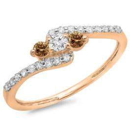 0.33 Carat (ctw) 14K Rose Gold Round Champagne & White Diamond Ladies Swirl Engagement 3 Stone Bridal Ring 1/3 CT