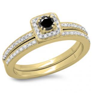 0.50 Carat (ctw) 14K Yellow Gold Round Cut Black & White Diamond Ladies Bridal Halo Engagement Ring With Matching Band Set 1/2 CT