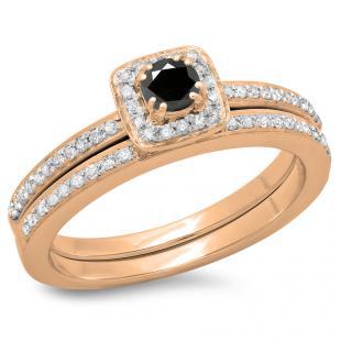 0.50 Carat (ctw) 18K Rose Gold Round Cut Black & White Diamond Ladies Bridal Halo Engagement Ring With Matching Band Set 1/2 CT