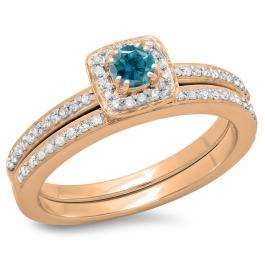 0.50 Carat (ctw) 10K Rose Gold Round Cut Blue & White Diamond Ladies Bridal Halo Engagement Ring With Matching Band Set 1/2 CT