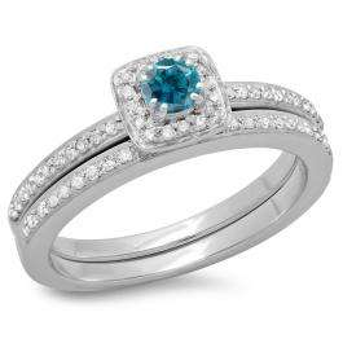 0.50 Carat (ctw) 10K White Gold Round Cut Blue & White Diamond Ladies Bridal Halo Engagement Ring With Matching Band Set 1/2 CT