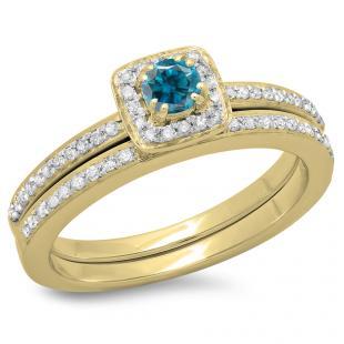 0.50 Carat (ctw) 10K Yellow Gold Round Cut Blue & White Diamond Ladies Bridal Halo Engagement Ring With Matching Band Set 1/2 CT