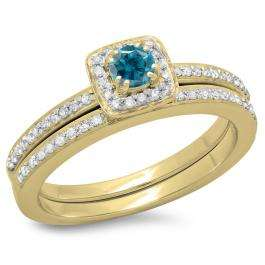 0.50 Carat (ctw) 18K Yellow Gold Round Cut Blue & White Diamond Ladies Bridal Halo Engagement Ring With Matching Band Set 1/2 CT