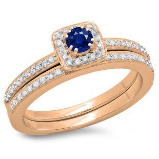 0.50 Carat (ctw) 14K Rose Gold Round Cut Blue Sapphire & White Diamond Ladies Bridal Halo Engagement Ring With Matching Band Set 1/2 CT