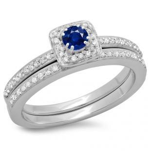 0.50 Carat (ctw) 14K White Gold Round Cut Blue Sapphire & White Diamond Ladies Bridal Halo Engagement Ring With Matching Band Set 1/2 CT