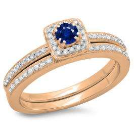 0.50 Carat (ctw) 18K Rose Gold Round Cut Blue Sapphire & White Diamond Ladies Bridal Halo Engagement Ring With Matching Band Set 1/2 CT