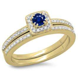 0.50 Carat (ctw) 18K Yellow Gold Round Cut Blue Sapphire & White Diamond Ladies Bridal Halo Engagement Ring With Matching Band Set 1/2 CT