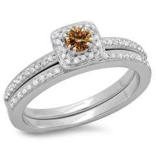 0.50 Carat (ctw) 14K White Gold Round Cut Champagne & White Diamond Ladies Bridal Halo Engagement Ring With Matching Band Set 1/2 CT