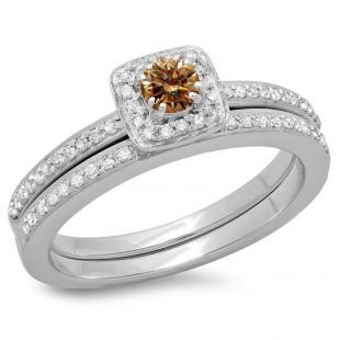 0.50 Carat (ctw) 18K White Gold Round Cut Champagne & White Diamond Ladies Bridal Halo Engagement Ring With Matching Band Set 1/2 CT
