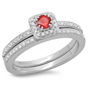 0.50 Carat (ctw) 18K White Gold Round Cut Red Ruby & White Diamond Ladies Bridal Halo Engagement Ring With Matching Band Set 1/2 CT