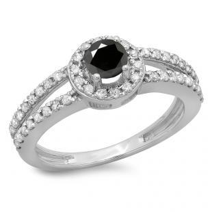 0.90 Carat (ctw) 18K White Gold Round Cut Black & White Diamond Ladies Bridal Split Shank Halo Style Engagement Ring