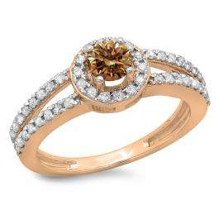 0.90 Carat (ctw) 14K Rose Gold Round Cut Champagne & White Diamond Ladies Bridal Split Shank Halo Style Engagement Ring
