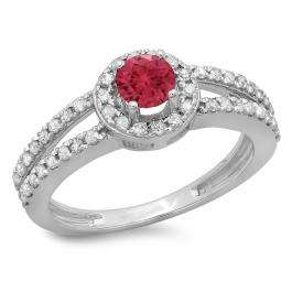 0.90 Carat (ctw) 18K White Gold Round Cut Red Ruby & White Diamond Ladies Bridal Split Shank Halo Style Engagement Ring