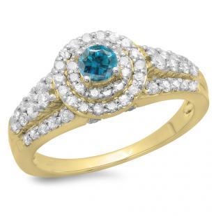 1.00 Carat (ctw) 18K Yellow Gold Round Cut Blue & White Diamond Ladies Vintage Style Bridal Halo Engagement Ring 1 CT