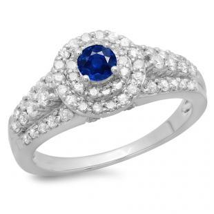 1.00 Carat (ctw) 10K White Gold Round Cut Blue Sapphire & White Diamond Ladies Vintage Style Bridal Halo Engagement Ring 1 CT