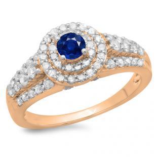 1.00 Carat (ctw) 18K Rose Gold Round Cut Blue Sapphire & White Diamond Ladies Vintage Style Bridal Halo Engagement Ring 1 CT