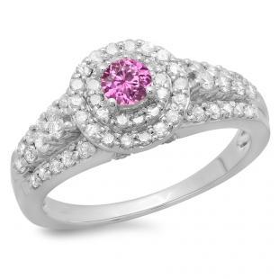 1.00 Carat (ctw) 18K White Gold Round Cut Pink Sapphire & White Diamond Ladies Vintage Style Bridal Halo Engagement Ring 1 CT