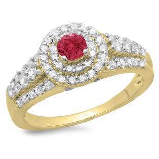 1.00 Carat (ctw) 14K Yellow Gold Round Cut Red Ruby & White Diamond Ladies Vintage Style Bridal Halo Engagement Ring 1 CT
