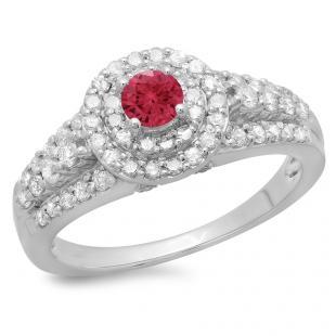 1.00 Carat (ctw) 18K White Gold Round Cut Red Ruby & White Diamond Ladies Vintage Style Bridal Halo Engagement Ring 1 CT