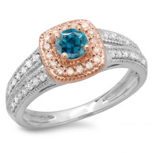 0.75 Carat (ctw) 10K Two Tone Gold Round Cut Blue & White Diamond Ladies Split Shank Bridal Halo Engagement Ring 3/4 CT