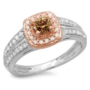 0.75 Carat (ctw) 18K Two Tone Gold Round Cut Champagne & White Diamond Ladies Split Shank Bridal Halo Engagement Ring 3/4 CT