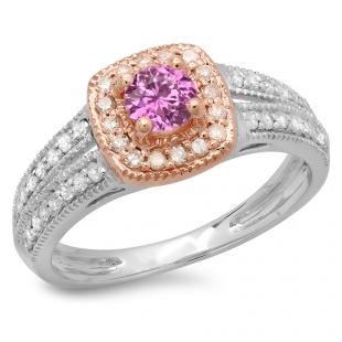 0.75 Carat (ctw) 18K Two Tone Gold Round Cut Pink Sapphire & White Diamond Ladies Split Shank Bridal Halo Engagement Ring 3/4 CT