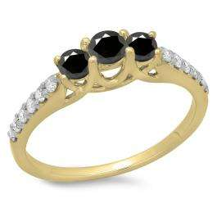 0.75 Carat (ctw) 18K Yellow Gold Round Cut Black & White Diamond Ladies Bridal 3 Stone Engagement Ring 3/4 CT