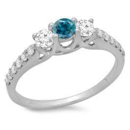 0.75 Carat (ctw) 18K White Gold Round Cut Blue & White Diamond Ladies Bridal 3 Stone Engagement Ring 3/4 CT